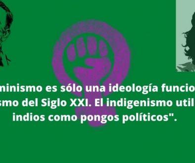 el feminismo es sólo una ideología funcional al socialismo del Siglo XXI. El indigenismo utiliza los indios como pongos políticos.